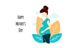 Donna incinta piana di stile di vettore su bianco sulla carta di festa della Mamma Composizione con le foglie e le nuvole Femmini fotografie stock libere da diritti