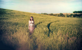 Donna incinta romantica fuori nel campo e fotografia stock