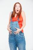 Donna incinta stupita Fotografia Stock Libera da Diritti