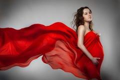 Donna incinta in vestito rosso Fotografie Stock