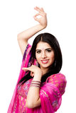 Donna indù indiana sorridente felice Fotografie Stock Libere da Diritti