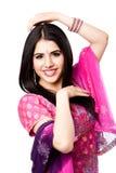 Donna indù indiana sorridente felice Immagini Stock Libere da Diritti