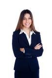 Donna indiana asiatica di affari che sorride con il vestito blu Fotografia Stock