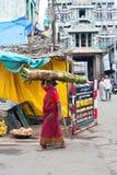 Donna indiana in balla di fieno di trasporto dei sari variopinti sulla testa Fotografie Stock Libere da Diritti