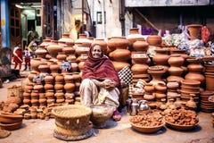 Donna indiana che vende i vasi di argilla Fotografia Stock