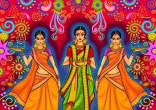 Donna indiana con la decorazione di diya per la celebrazione di festival di Diwali in India illustrazione vettoriale