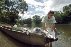 Donna indiana di vita del villaggio al fiume dei Cochi, Nicaragua Fotografie Stock Libere da Diritti