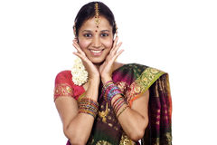 Donna indiana emozionante Fotografia Stock Libera da Diritti