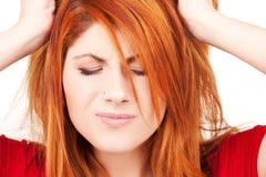 Donna infelice di redhead fotografia stock libera da diritti