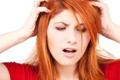 Donna infelice di redhead immagine stock