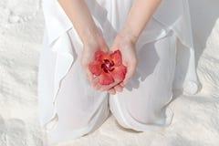Donna inginocchiata in vestito bianco che tiene un fiore tropicale in sua mano fotografia stock libera da diritti