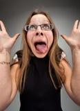 Donna insana di affari Immagini Stock