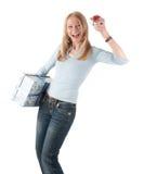 Donna invecchiata centrale con due pacchetti Immagini Stock Libere da Diritti