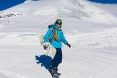 Donna, inverno dello snowboard, occhiali di protezione Immagini Stock