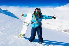 Donna, inverno dello snowboard, occhiali di protezione Fotografie Stock Libere da Diritti