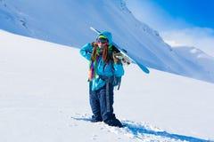 Donna, inverno dello snowboard, occhiali di protezione Fotografia Stock