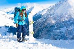 Donna, inverno dello snowboard, occhiali di protezione Fotografia Stock Libera da Diritti