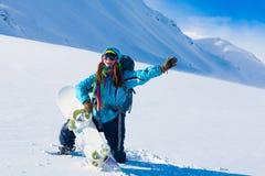 Donna, inverno dello snowboard, occhiali di protezione Immagine Stock Libera da Diritti