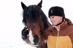 Donna isolata con il cavallo Fotografia Stock Libera da Diritti