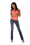 Donna in jeans ed alti talloni fotografia stock libera da diritti