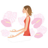 Donna - lateralmente-rivestimento di yoga Fotografie Stock