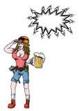 Donna lavoratrice dura con beer-100 Fotografie Stock