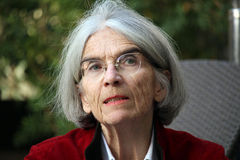 Donna Leon best seller writer. BARCELONA/SPAIN - 04 FEBRUARY 2016: Potrait of american writer Donna Leon, author of 25 books about Commissario Brunetti, which Royalty Free Stock Images