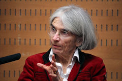 Donna Leon about crime and corruption in Italy Stock Image
