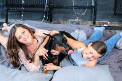 Donna a letto con il grande cane Immagini Stock
