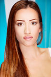Donna lunga del brunette dei capelli Immagini Stock Libere da Diritti