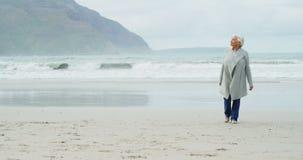 Donna maggiore che cammina sulla spiaggia archivi video