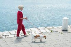 Donna maggiore ed il suo cane Fotografie Stock Libere da Diritti