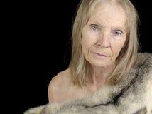Donna maggiore in pelliccia Immagine Stock Libera da Diritti
