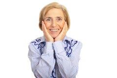 Donna maggiore sorridente felice Immagini Stock