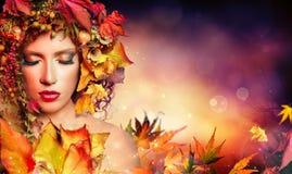 Donna magica di autunno Fotografia Stock