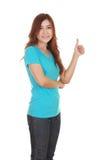 Donna in maglietta in bianco con i pollici su Fotografia Stock Libera da Diritti