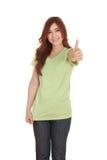 Donna in maglietta in bianco con i pollici su Immagini Stock