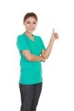 Donna in maglietta in bianco con i pollici su Fotografia Stock