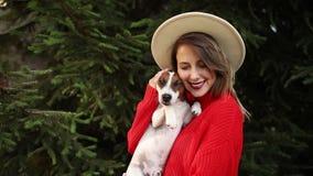 Donna in maglione rosso con il soggiorno del cane vicino al pino video d archivio