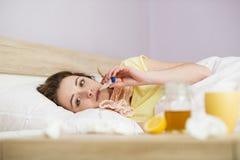 Donna malata Fotografia Stock Libera da Diritti
