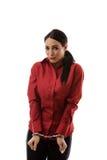 Donna in manette Fotografia Stock