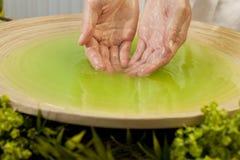 Donna \ 'mani di s in liquido verde alla stazione termale di salute Immagini Stock
