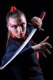 Donna in marziale giapponese Fotografia Stock Libera da Diritti