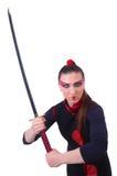 Donna in marziale giapponese Immagini Stock Libere da Diritti