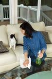 Donna matura che sorride al suo gatto mentre pulendo la sala di famiglia t Fotografie Stock Libere da Diritti