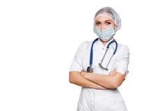 Donna medica di medico del chirurgo isolata su wihte Con il posto per medico annunci Concetto medico di pubblicità Fotografia Stock Libera da Diritti
