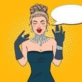 Donna meravigliosa in vestito nero con Diamond Jewelry Illustrazione di Pop art Fotografia Stock Libera da Diritti
