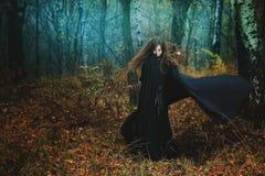 Donna misteriosa che cammina nella foresta magica fotografie stock libere da diritti