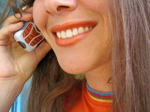 Donna mobile Fotografia Stock Libera da Diritti