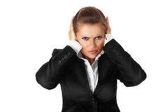Donna moderna di affari con la mano sulle orecchie fotografia stock libera da diritti